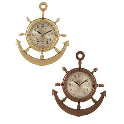 Pack of 2 - Anchor Wall Clocks - Brown and Golden - 17x15 Inch