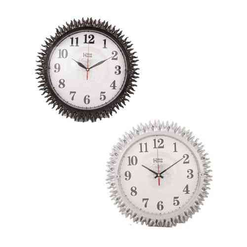Globe Embossed Sun Wall Clocks - Brown and Silver - 14x14 Inch