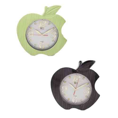 Pack of 2 Apple Wall Clock - Black and Green - 11x11 Inch
