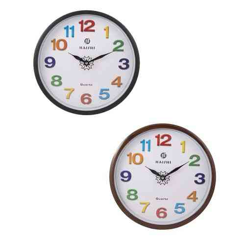 Pack of 2 Wall Clocks Black and Brown - 12x12 Inch