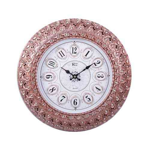 """Peacock Flower Roses Wedding Party Gift Wall Clock - 17x17"""" - Brown"""