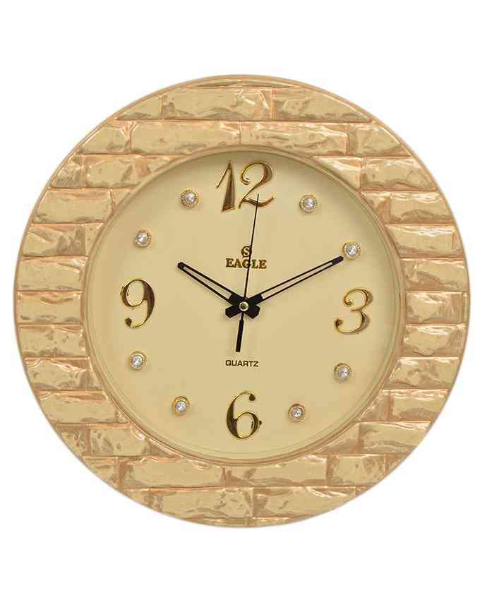 Brick Style Wall Clock With Golden Dial - Golden - 15x15 Inches