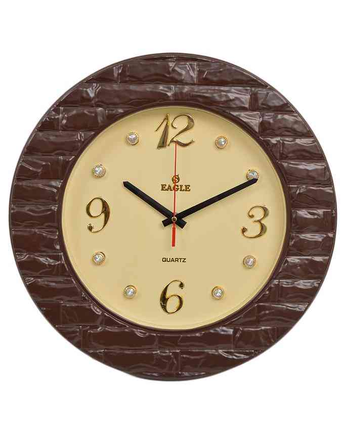 Brick Style Wall Clock With Golden Dial - Chocolate - 15x15 Inches