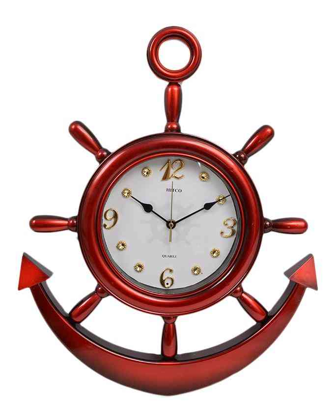 Anchor Wall Clock With White Dial - Red - 20x15 Inches