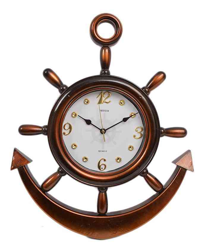 Anchor Wall Clock With White Dial - Brown - 20x15 Inches