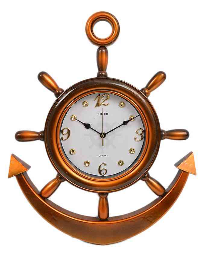 Anchor Wall Clock With White Dial - Orange - 20x15 Inches