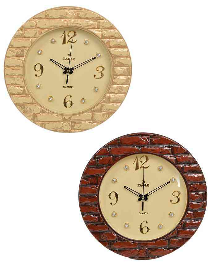 Pack of 2 Brick Style Wall Clock With Golden Dial - Multicolour - 15x15 Inches