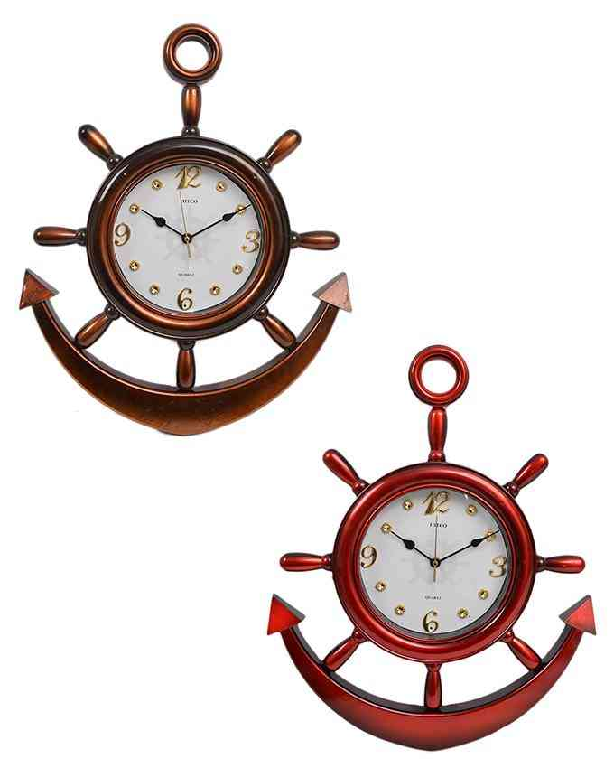 Pack of 2 Anchor Wall Clock With White Dial - Multicolour - 20x15 Inches
