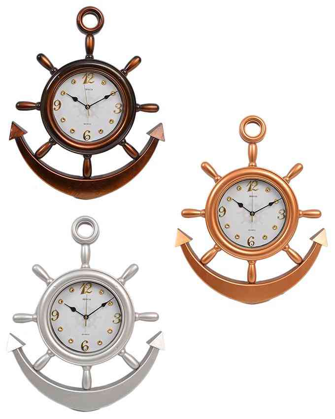 Pack of 3 Anchor Wall Clock With White Dial - Multicolour - 20x15 Inches