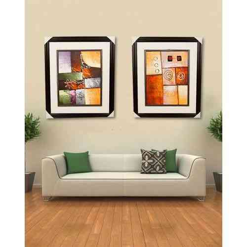 "Pack of 2 Artist Made Wall Painting Wall Art Oil Painting Canvas Frame For Home Decoration - 27x23"" - Dark Brown"