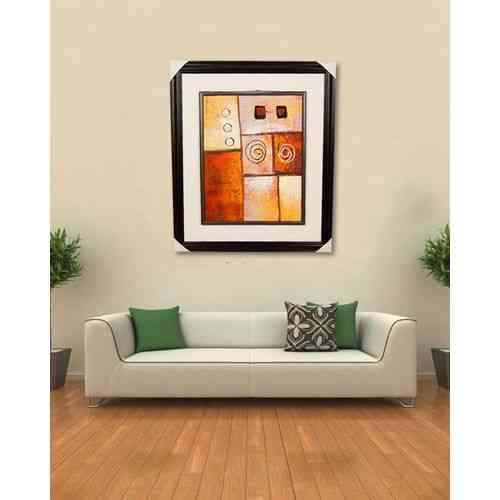 "Artist Made Wall Painting Wall Art Oil Painting Canvas Frame For Home Decoration - 27x23"" - Dark Brown"