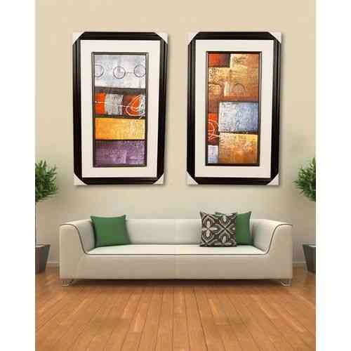 "Pack of 2 Artist Made Wall Painting Wall Art Oil Painting Canvas Frame For Home Decoration - 20x33"" - Dark Brown"
