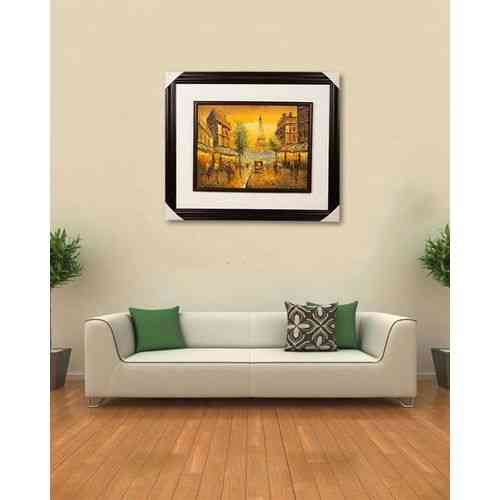 """Artist Made Wall Painting Wall Art Oil Painting Canvas Frame For Home Decoration Eiffel Tower Paris Scenery - 20x25"""" - Dark Brown"""