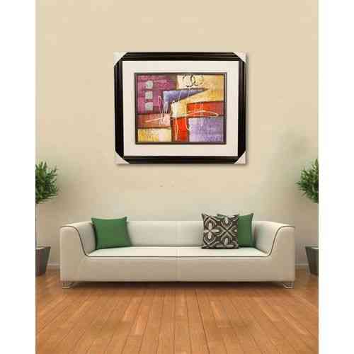 "Artist Made Wall Decor Painting - 27x23"" - Dark Brown"