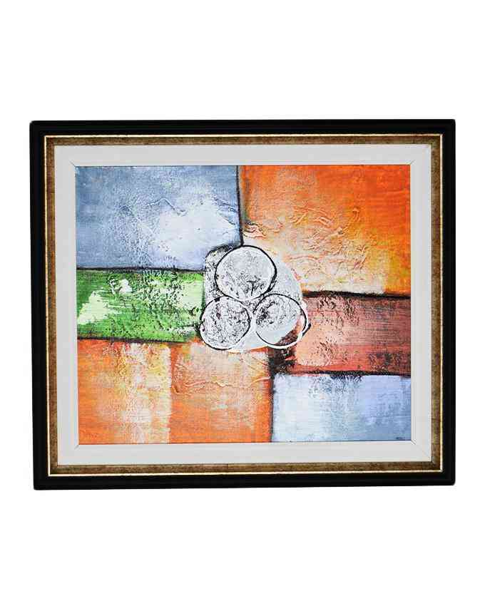 Pack of 2 - Imported Artist Made Oil On Canvas Painting Wall Frame Wall Art - Silver Black - 20x23 Inch