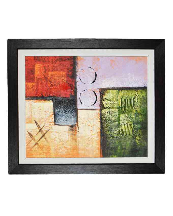 Pack of 2 - Imported Artist Made Oil On Canvas Painting Wall Frame Wall Art - Wood Textured Fiber With White Mount - 20x23 Inch