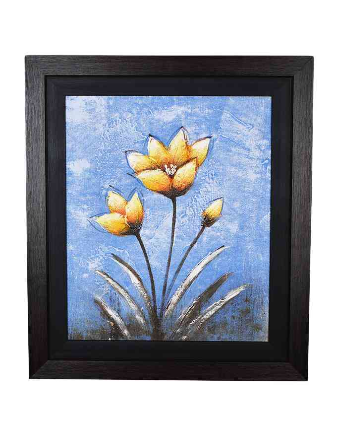 Pack of 2 - Imported Artist Made Oil On Canvas Flower Painting Wall Frame Wall Art - Wood Textured Fiber With Black Mount - 20x23 Inch
