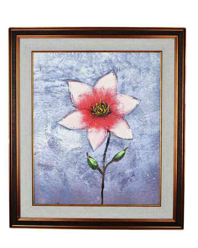 Pack of 2 - Imported Artist Made Oil On Canvas Flower Painting Wall Frame Wall Art - Gold Frame With Gray Mount - 20x23 Inch