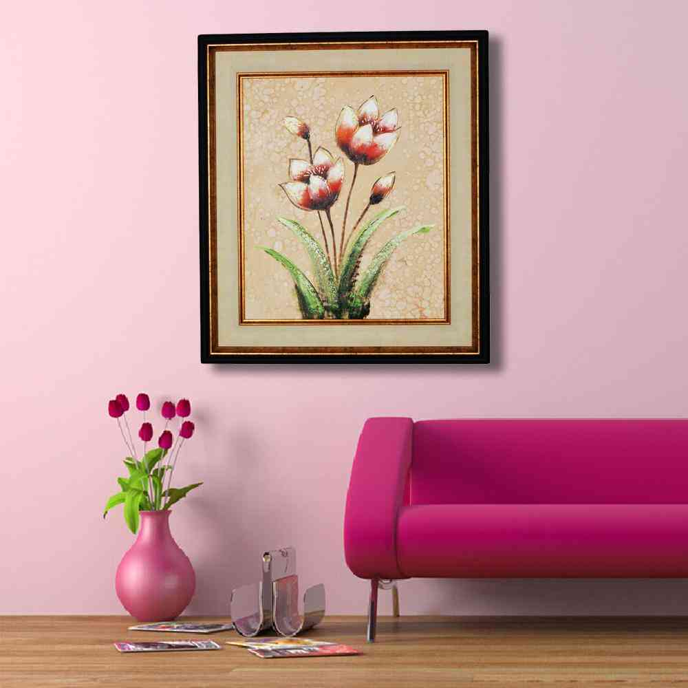 Imported Artist Made Oil On Canvas Flower Painting Wall Frame Wall Art - Gold Frame With Beige Mount - 22x24 Inch
