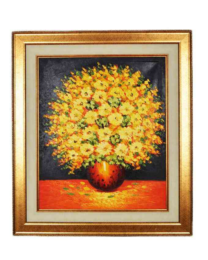 Imported Artist Made Oil On Canvas Flower and Pot Painting Wall Frame Wall Art - Gold Frame With Beige Mount - 28x32 Inch