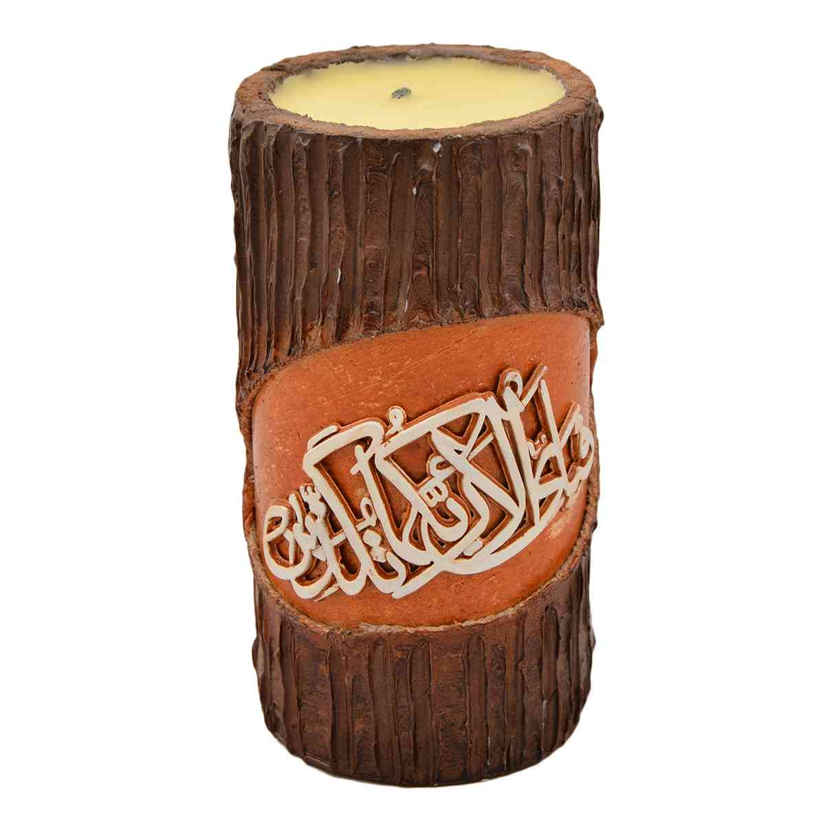 Original Wooden Calligraphic Candle for Room Decoration (Width 3.5 Inch x Height 7 Inch x Depth 7 Inch)