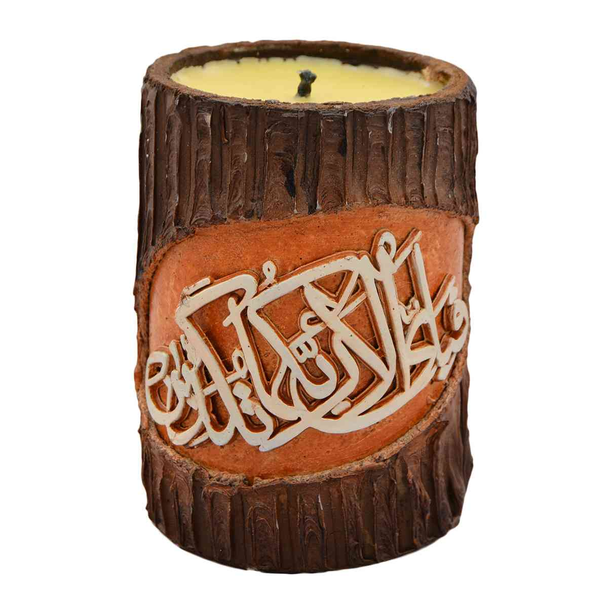 Original Wooden Calligraphic Candle for Room Decoration (Width 3 Inch x Height 5 Inch x Depth 5 Inch)