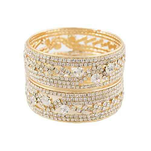 Diamonds Studded Pair of Bangles For Women (Size in inches) - Golden