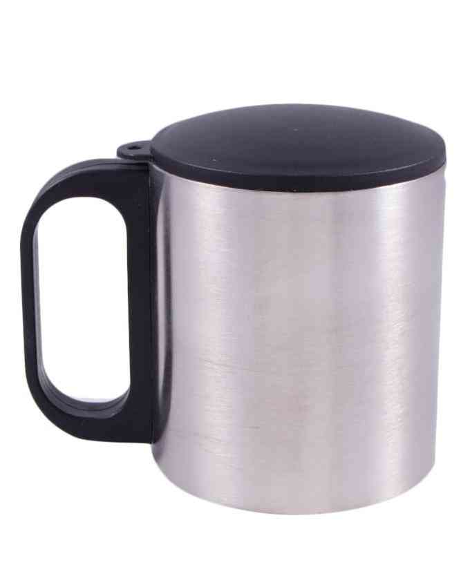 Stainless Steel Vacuum Insulated Travel Mug with Lid and Handle Camp Cup for Hot or Cold - Silver