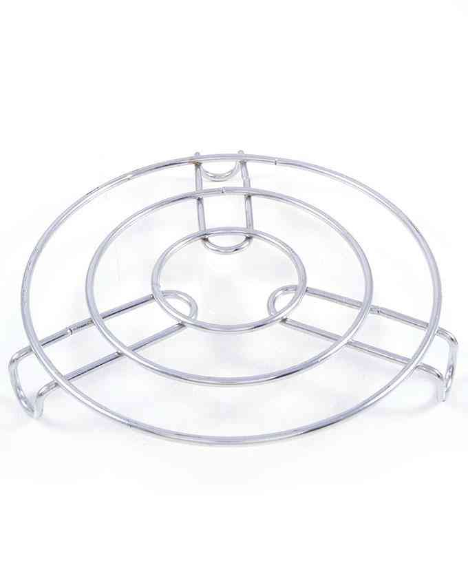 Steel Patili Stand Kettle Stand Tea Pot Stand Plant Pot Stand Trivet - Silver