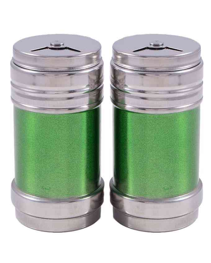Pack of 2 Salt and Pepper Shakers Salt Dispenser Namak Dani With Adjustable Pour Holes (Stainless Steel) 3 Inch - Green