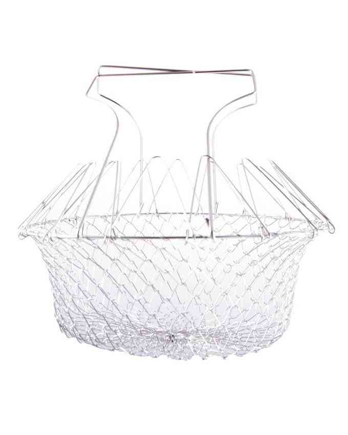 Chef Basket, Stainless Steel Foldable Steam Rinse Strain Fry Basket Filter Basket Cooking Tool