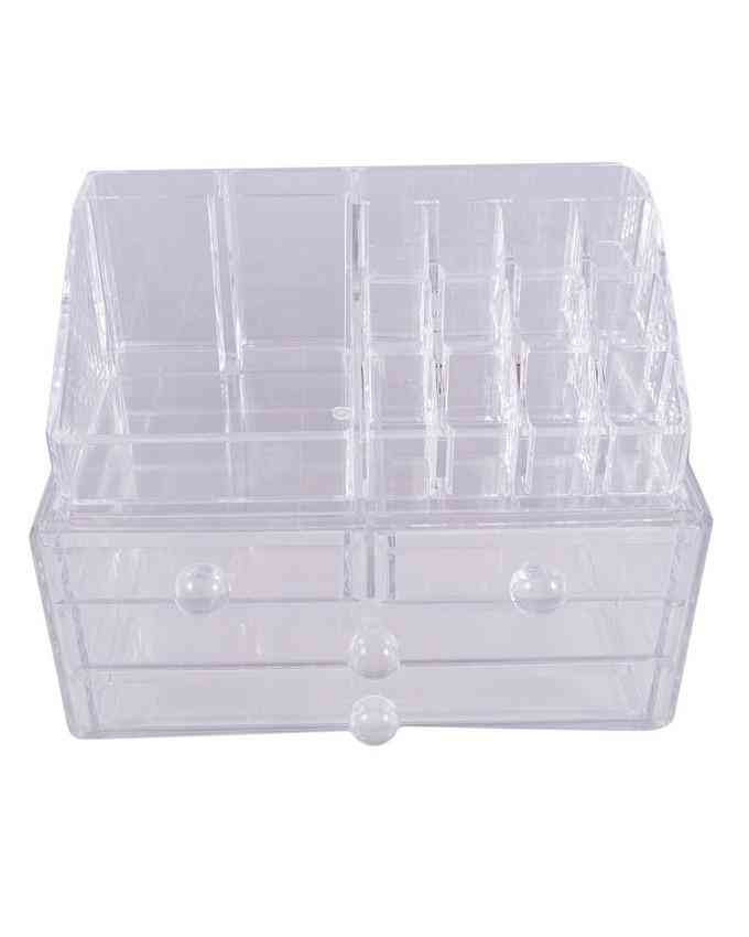 Acrylic Cosmetic Organizer With 4 Drawers For Makeup Lipstick Nailpolish Brush