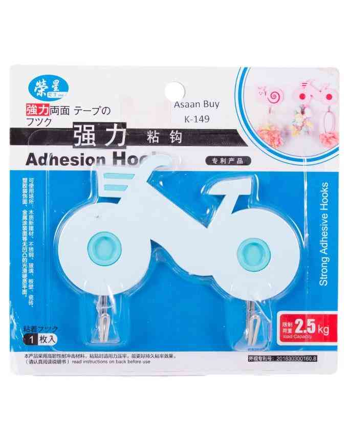 Pack of 2 Bike Design Wall Hooks For Bathroom Kitchen Home Usage