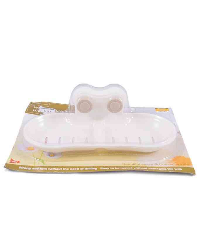 Drillless 2 Compartment Hard and Good Quality Soap Box Soap Holder (no need of drilling for mounting) - Beige