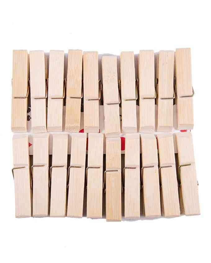 Pack of 20 - Wooden Cloth Hanging Clips Clothpins Clothpegs - Good Quality