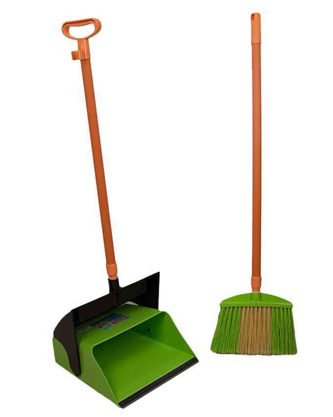 Broom and Dustpan Set For Outdoor or Indoor With Long Handle For Garden Wood Floors Sweeping Kitchen House