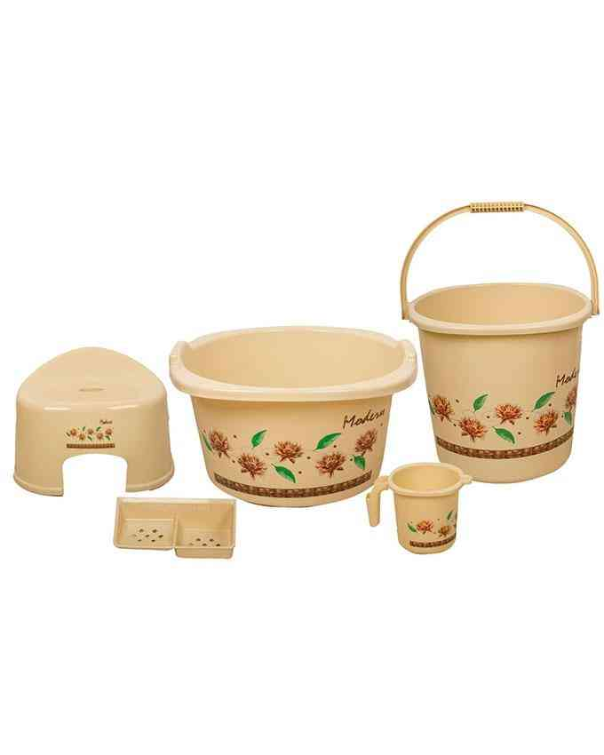 Pack of 5 - Bath Set for Bathroom With Tub Mug Soap Container Patla and Baalti - Beige