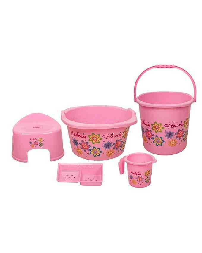 Pack of 5 - Bath Set for Bathroom With Tub Mug Soap Container Patla and Baalti - Pink