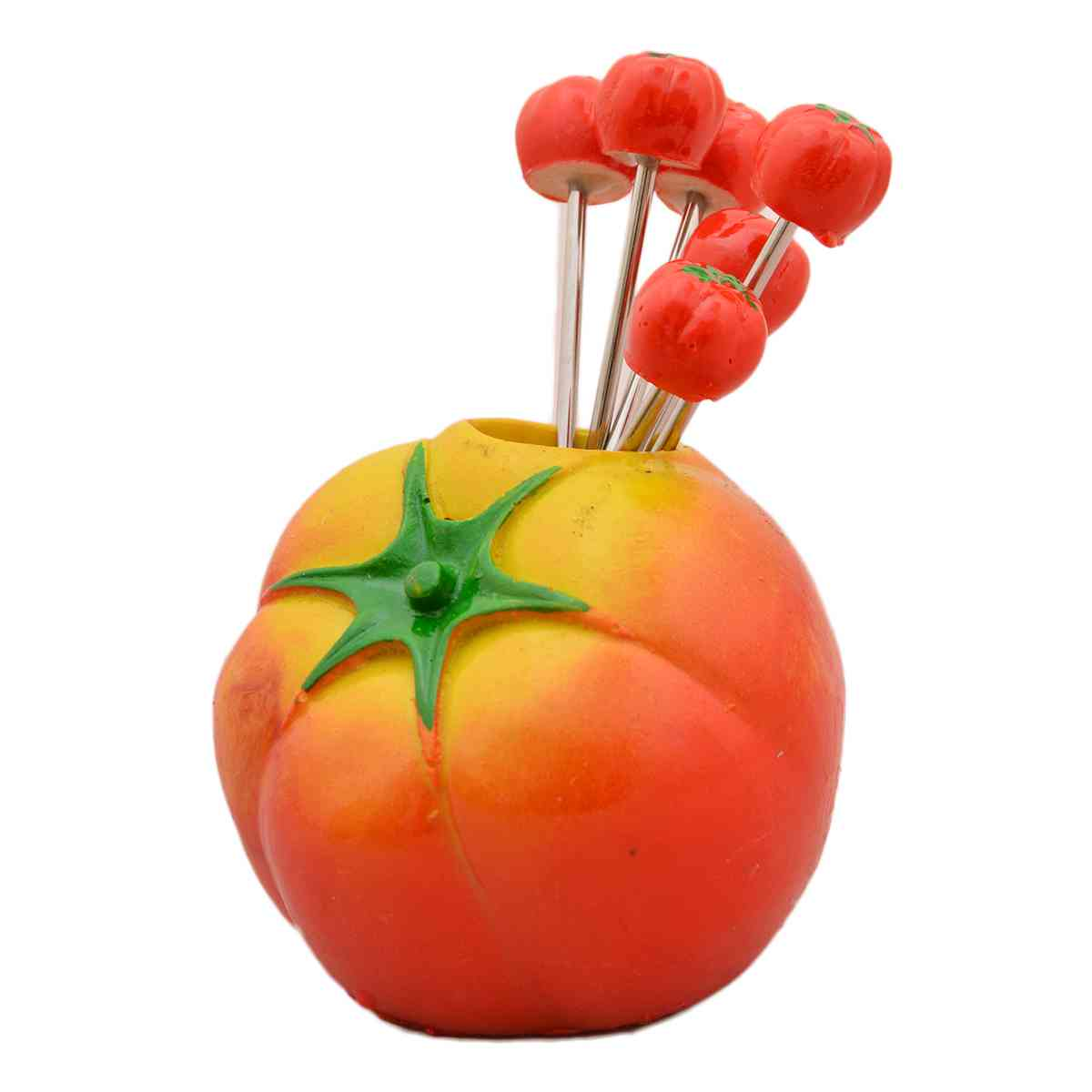 Ceramic Fruit Folk Set With Fork Container (Set of 6, Tomato Designed) - Red