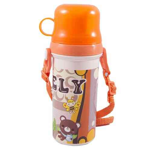Long School Water Bottle For Kids - Thermos Flask - With Handle - BPA Free - Orange