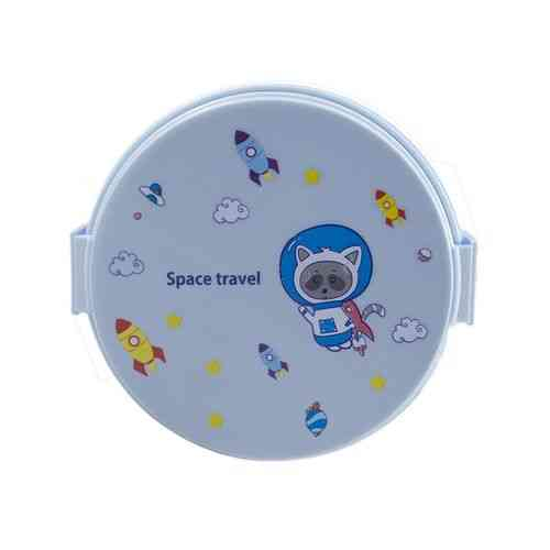 Leakproof 2 Compartment Lunch Box With Spoon and Fork - Round - Blue
