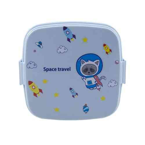 Leakproof 2 Compartment Lunch Box With Spoon and Fork - Square - Blue