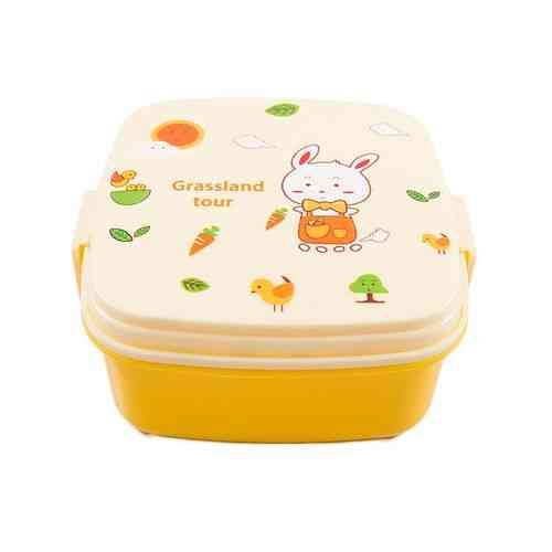 Leakproof 2 Compartment Lunch Box With Spoon and Fork - Square - Yellow