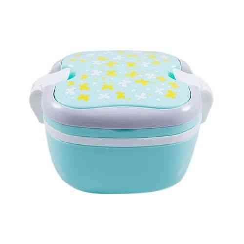 Versatile 2 Compartment Double Sided Lock Lunch Box With Spoon - Neon
