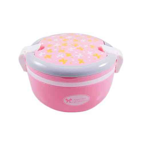 Versatile 2 Compartment Double Sided Lock Lunch Box With Spoon - Round - Pink