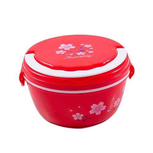 Versatile 2 Compartment Double Sided Lock Lunch Box With Spoon and Handle - Round - Red