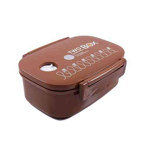 Versatile 2 Compartment Double Sided Lock Lunch Box With Spoon - Rectangle - Brown