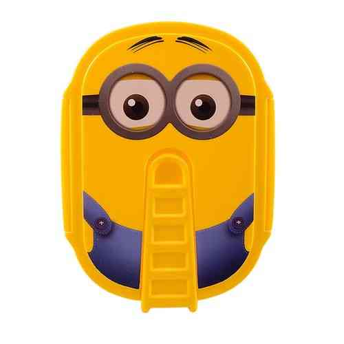 Minions 2 Compartment Double Sided Lock Lunch Box With Spoon - Rectangle - Yellow