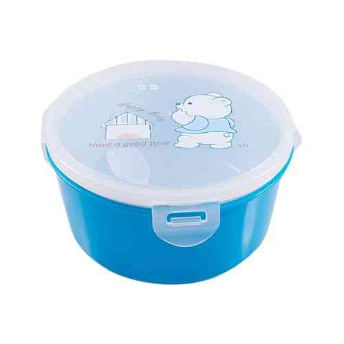 Insulated Food Container 3 Compartments Lunch Box With Spoon - Blue