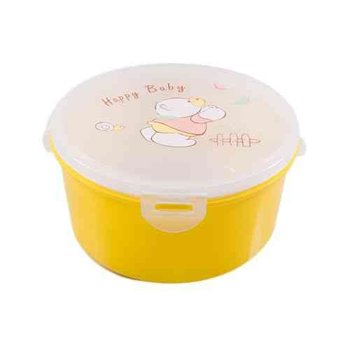 Insulated Food Container 3 Compartments Lunch Box With Spoon - Yellow